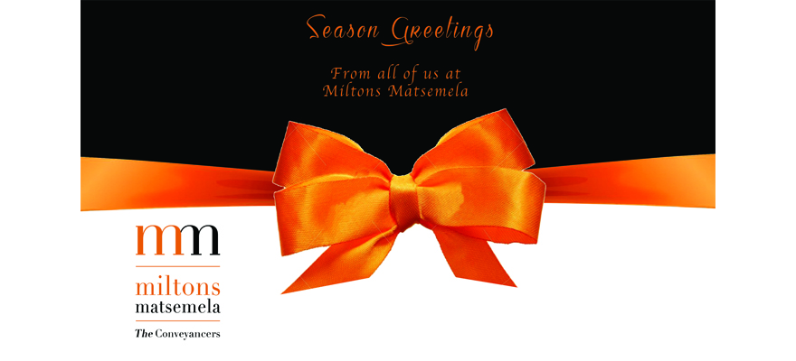 FESTIVE SEASON CLOSURE – 2016